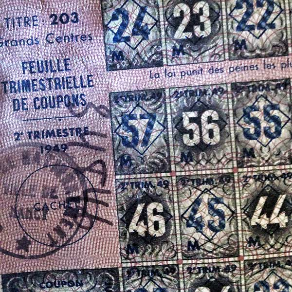 feuille trimestrielle de coupons - 1949